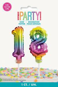 "18th BIRTHDAY CAKE DECORATION 5"" RAINBOW CAKE TOPPER NUMBER 18 RAINBOW BALLOONS"