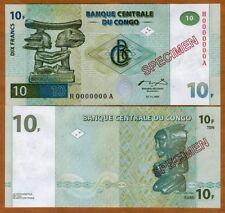 SPECIMEN, Congo D.R. 10 Francs, 1997, P-87s, UNC
