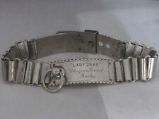 Placa de plata histórica raro antiguo collar de perro Chequers Tribunal primer ministro
