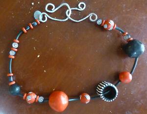 "Peggy Marshall Jewelry Polymer Necklace – a ""Statement"" Piece - Orange & Black"