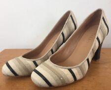 Talbots Beige Black Striped Linen Round Toe High Heel Pumps Women 5.5M 35.5