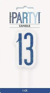 UNIQUE - BLUE AND SILVER AGE 13 - 13TH BIRTHDAY CANDLE