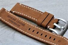 22mm Handmade Watch Strap Genuine Suede Leather Double Layered Durable Stitch