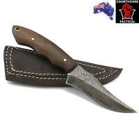 Handmade Hunting Knife, Damascus Blade, Walnut Wood Handle, Leather Sheath