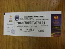 09/12/2012 billet: BORDEAUX v Newcastle United [EUROPA LEAGUE] (léger pli). Tha