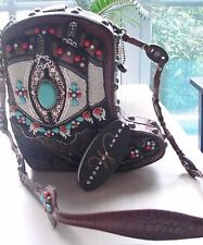 Mary Frances NWT TWO STEP Cowgirl Beaded Boot w/Studs Leather Shoulder Purse Bag