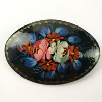 Vintage Russian Flower Hand Painted Wood Lacquer Brooch Pin Signed Black