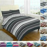 Complete Bedding Duvet Cover Set Single Double Super King Size Striped Check New