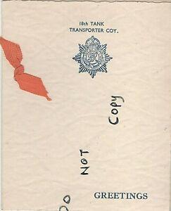WW2 period Military Xmas Greetings card 18th Tank Transporter Company RASC