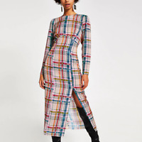 RIVER ISLAND Pink Check Long Sleeve Midi Dress - SIZE UK  /EU 36