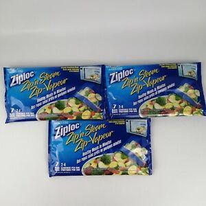 21 Ziploc Zip N Steam Cooking Microwave Bags 3 Medium Ziplock Meal Prep 7 packs