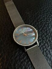 Skagen Womens Watch Mother Of Pearl Shell Face Rhinestone Mesh Band