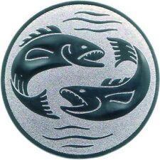 100 Embleme D:50mm Angeln Angler #1 (Fische Forelle für Medaillen Pokale Emblem)