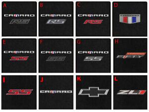 NEW! Black Carpet Floor Mats 2016-2021 Chevy Camaro Embroidered Logo 2 Pc Set