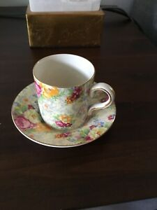 VTG LORD NELSON WARE~ENGLAND~FLORAL ROSE Time CHINTZ~DEMITASSE CUP & SAUCER CHIP