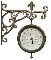Outdoor Garden Wall Clock York Station 15cm Clock Face With Thermometer Gauge