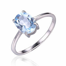 1.5ct Gorgeous Genuine Sky Blue Topaz Oval Solid Sterling Silver Ring Size 7
