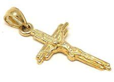 "14k Yellow Gold Jesus Christ Crucifix Cross Pendant Religious Charm 1.3"" 1.9g"