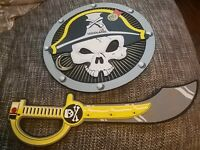 Rare Lego Pirate Cutlass Foam Sword amd shield 2012 Legoland