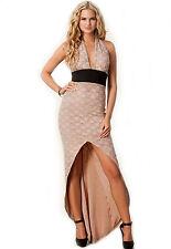 V-Neck Halter Flowery Lace Evening Dress Beige Medium