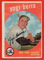 1959 Topps #180 Yogi Berra VG CREASE New York Yankees HOF FREE SHIPPING