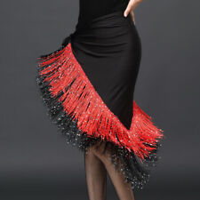 Latin Dance Skirts Rumba Tango Salsa Hip Scarf Sequins Tassel Ballroom Dancewear