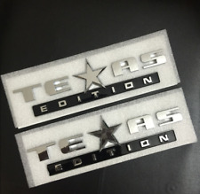 2pcs Texas Edition Black Silver Trunk Boot Side Fender Emblems Badges Decals