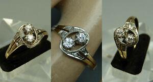 DDFG Antik Art Deco Ring 585 Gold Platin 6x Diamant Rosen Altschliff Gr 59 TOP