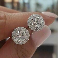 Exquisito ronda diamante blanco oro 18K Aretes Mujeres Joyería Regalo de boda