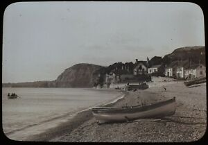 Magic Lantern Slide LOOKING WEST FROM SIDMOUTH C1900 PHOTO DEVON BEACH BOATS