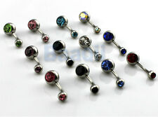 12 Ball Gem Crystal Rhinestone Belly Navel Barbell Button Bar Ring K6