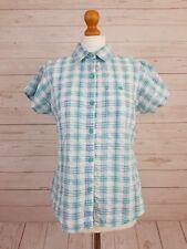 Regatta Womens Blue White Short Sleeve Button Front Checked Cotton Shirt Size 16
