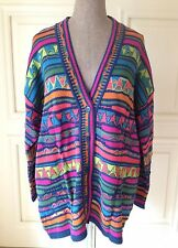 VTG UNITED COLORS OF BENETTON Neon Multi Colour Knit Boyfriend Cardigan ITALY L