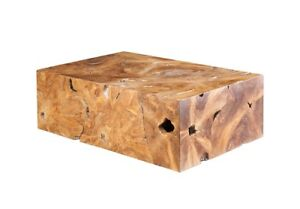 """47"""" L Cocktail Table Teak Wood Natural Brown Tones Slice Coffee Rectangle 1272"""