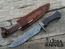 DAMASCUS STEEL CUSTOM HANDMADE BOWIE KNIFE WITH HAND TOOLED LEATHER SHEATH