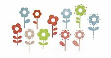 COLORFUL FLOWERS 40 Wall Decals Polka Dot Stripes Room Decor Stickers DAISIES