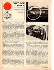 1964 TOYOPET TIARA  ~  NICE ORIGINAL 3-PAGE ROAD TEST / ARTICLE / AD