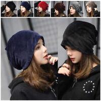 Women Ladies Velvet Winter Warm Slouch Beanie Ski Hip Hop Hat Cap Oversized USA