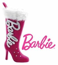 Barbie Pink Furry Top Boots! Heirloom Christmas Ornament! Glittery Rhinestones!
