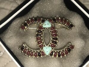 Chanel Brooch Pin 14A CC Logo Ruby Turquoise Large 2.25x1.5 EUC