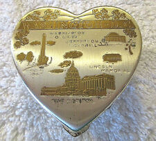 Vintage Washington DC Heart Shaped Mirrored Makeup Compact w/Powder Puff