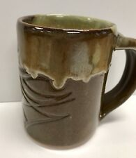 Ceramic Artisan Mug Handcrafted By Local Potter Green & Brown Tea Coffee Cup 02A