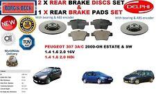 für Peugeot 307 Kombi SW 2000- 249mm Bremsscheiben SET HINTEN+Bremsbelagsatz