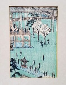 JAPANESE ART PRINTS 10CM X 15CM TEMPLE IN TOKYO BY HIROSHIGE PRINTED IN 1850'S