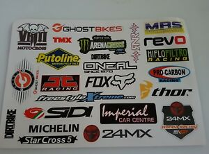 A4 Sheet - 23 x Motorbike Stickers Decals Tank Belly Pan Tool Box Biker