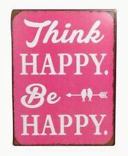 Retro Blechschild Spruch Think Happy, Be Happy - Vintage Deko Schild Wandschild