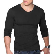 Fashion Men's Casual V-Neck Long Sleeve Shirts Slim Fit T-Shirt Tops Blouse Tee