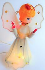 VINTAGE CHRISTMAS ANGEL TREE TOPPER WHITE LIGHTED CHARMING FACE