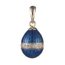 Faberge Egg Pendant / Charm with crystals 0.8'' blue #2-1821-11