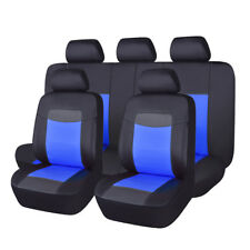 PU Leather Seat Covers Set 11 Pieces Universal fit car SUV Van black blue sport